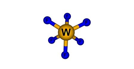 reagent: Tungsten fluoride or tungsten hexafluoride is the inorganic compound of tungsten and fluorine with the formula WF6. This corrosive, colorless compound is a gas. 3d illustration Stock Photo