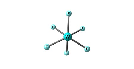 fluorine: Tungsten fluoride or tungsten hexafluoride is the inorganic compound of tungsten and fluorine with the formula WF6. This corrosive, colorless compound is a gas. 3d illustration Stock Photo