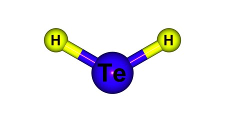 reagent: Hydrogen telluride is the inorganic compound with the formula H2Te. A hydrogen chalcogenide and the simplest hydride of tellurium. 3d illustration Stock Photo