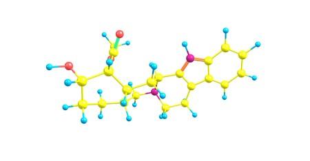 hidrógeno: La yohimbina es un alcaloide indole derivado de la corteza del árbol Yohimbe Pausinystalia en África Central. Es un medicamento veterinario usado para revertir la sedación en perros y ciervos. 3d ilustración Foto de archivo