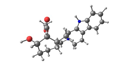 Yohimbine is an indole alkaloid derived from the bark of the Pausinystalia yohimbe tree in Central Africa. It is a veterinary drug used to reverse sedation in dogs and deer. 3d illustration