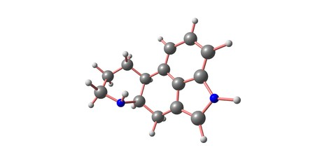 Ergoline is a chemical compound whose structural skeleton is contained in a diverse range of alkaloids. 3d illustration Stock Photo