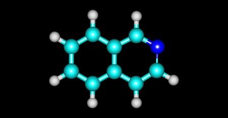 イソキノリンは複素環式芳香有機化合物です。キノリンの構造異性体です。3 d イラストレーション 写真素材