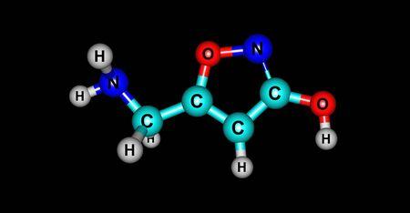Le muscimol ou l'agarine ou la pantherine est le principal constituant psycho-actif d'Amanita muscaria et d'espèces apparentées de champignons. Illustration 3d Banque d'images - 78538826