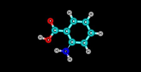 Anthranilic acid is an aromatic acid with the formula C6H4NH2CO2H. The molecule consists of a substituted benzene ring, hence is classed as aromatic. 3d illustration