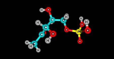 Dihydrogen phosphate or DOXP compound on black background. 3d illustration
