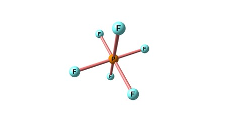 Hexafluorophosphate is an anion with chemical formula of PF. 3d illustration
