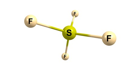 hazard: Sulfur tetrafluoride is the chemical compound with the formula SF4. It exists as a gas at standard conditions. It is a corrosive species that releases dangerous HF. 3d illustration