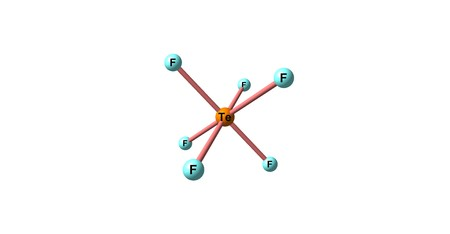 Tellurium hexafluoride is a chemical compound of tellurium and fluorine with the chemical formula TeF6. It is a colorless, highly toxic gas with an extremely unpleasant smell. 3d illustration