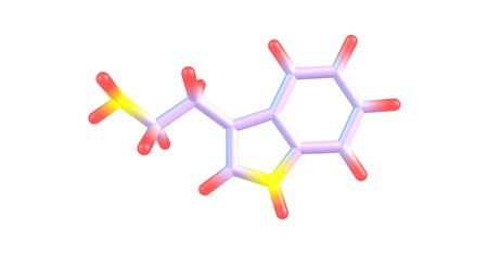 Tryptamine is a monoamine alkaloid. It contains an indole ring structure, and is structurally similar to the amino acid tryptophan, from which the name derives. 3d illustration Stock Illustration - 80045749