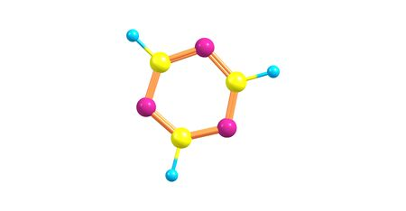 A triazine is class of nitrogen-containing heterocycles. The parent molecules molecular formula is C3H3N3. 3d illustration Stock Photo