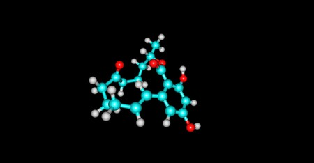 Zearalenone or ZEN, also known as RAL and F-2 mycotoxin, is a potent estrogenic metabolite. 3d illustration Stock Photo