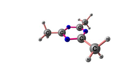2,4,6-Trimethyl-1,3,5-triazine is an organic heterocyclic compound with the formula C6H9N3. 3d illustration