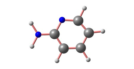 2-Aminopyridine is an organic compound with the formula H2NC5H4N. It is a colorless solid used in the production of the drugs piroxicam, sulfapyridine, tenoxicam, and tripelennamine. 3d illustration Banco de Imagens