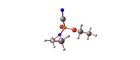 white phosphorus: Tabun or GA is an extremely toxic chemical substance. It is a clear, colorless, and tasteless liquid with a faint fruity odor. It is classified as a nerve agent. 3d illustration Stock Photo