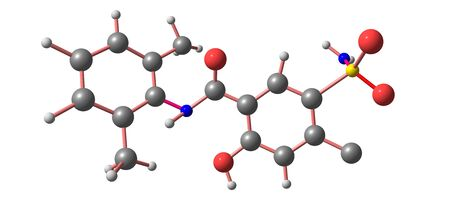 Xipamide is a sulfonamide diuretic drug marketed. It is used for the treatment of oedema and hypertension. 3d illustration