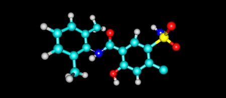 diuretic: Xipamide is a sulfonamide diuretic drug marketed. It is used for the treatment of oedema and hypertension. 3d illustration