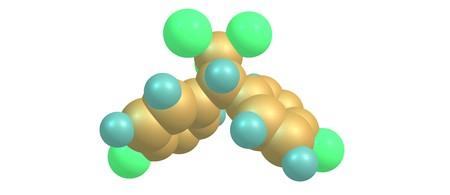 El diclorodifeniltricloroetano o DDT es un organoclorado cristalino incoloro, insípido y casi inodoro conocido por sus propiedades insecticidas e impactos ambientales. 3d ilustración Foto de archivo - 83029771