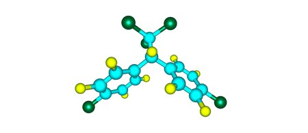 El diclorodifeniltricloroetano o DDT es un organoclorado cristalino incoloro, insípido y casi inodoro conocido por sus propiedades insecticidas e impactos ambientales. 3d ilustración Foto de archivo - 83030077