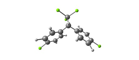 Dichlorodiphenyltrichloroethane or DDT is a colorless, tasteless, and almost odorless crystalline organochlorine known for its insecticidal properties and environmental impacts. 3d illustration
