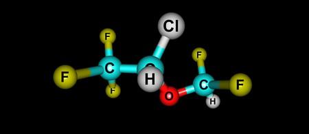 fluorine: Isoflurane molecular structure isolated on black
