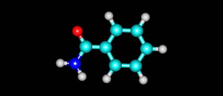 Benzamide is an off-white solid with the chemical formula of C6H5CONH2. It is a derivative of benzoic acid. 3d illustration