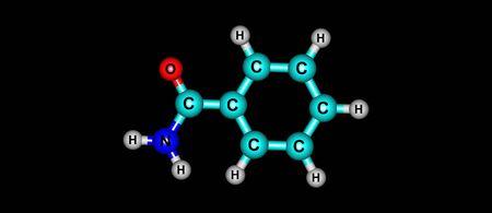 黒に分離したベンズアミド分子構造