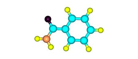 白で隔離ベンズアミド分子構造 写真素材