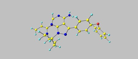 Ibrutinib molecular structure isolated on grey