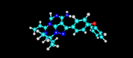 Ibrutinib is a small molecule drug that binds permanently to a protein, the drug is used to treat B cell cancers like mantle cell lymphoma. 3d illustration