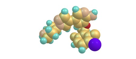 Crizotinib is an anti-cancer drug acting as an anaplastic lymphoma kinase and c-ros oncogene 1 inhibitor, approved for treatment of some non-small cell lung carcinoma . 3d illustration