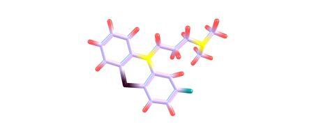 ameba: La clorpromazina o CPZ es un medicamento antipsicótico. Se utiliza principalmente para tratar trastornos psicóticos como la esquizofrenia o el trastorno bipolar. 3d ilustración Foto de archivo
