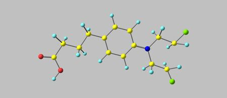 Chlorambucil molecular structure isolated on grey