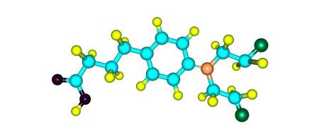 leucemia: Chlorambucil estructura molecular aislados en blanco