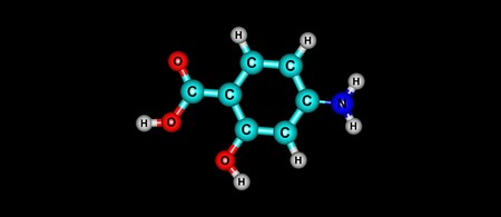 4-Aminosalicylic acid or para-aminosalicylic acid is an antibiotic primarily used to treat tuberculosis. 3d illustration