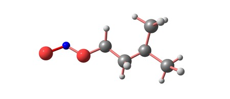 Isoamyl nitrite is a chemical compound with the formula C5H11ONO. It is employed medically to treat heart diseases as well as angina. 3d illustration Stock Photo