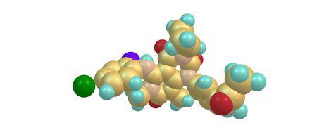 Trametinib is a cancer drug. It is a MEK inhibitor drug with anti-cancer activity. 3d illustration Stock Illustration - 84492583