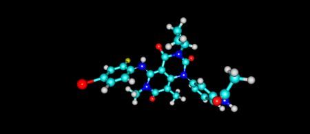 Trametinib is a cancer drug. It is a MEK inhibitor drug with anti-cancer activity. 3d illustration Stock Illustration - 84546873