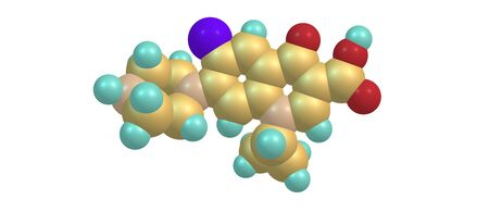 fluorine: Ciprofloxacin is an antibiotic used to treat a number of bacterial infections.This includes bone and joint infections, intra abdominal infections, infectious diarrhea, respiratory tract infections. 3D illustration