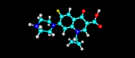 Ciprofloxacin is an antibiotic used to treat a number of bacterial infections.This includes bone and joint infections, intra abdominal infections, infectious diarrhea, respiratory tract infections. 3D illustration