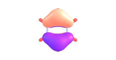 Highest occupied molecular orbital or HOMO of a benzene molecule. 3D illustration Stock Photo