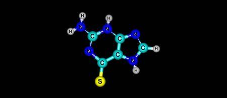 Tioguanina o tioguanina è un farmaco usato per il trattamento della leucemia mieloide acuta, della leucemia linfatica acuta e della leucemia mieloide cronica. Viene somministrato per via orale. Illustrazione 3D Archivio Fotografico - 87328052