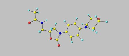Linezolid is an antibiotic used for the treatment of infections caused by Gram-positive bacteria that are resistant to other antibiotics. 3d illustration