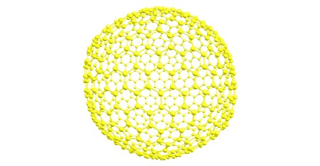 Giant fullerene moleccule C720, carbon allotrope. 3d illustration