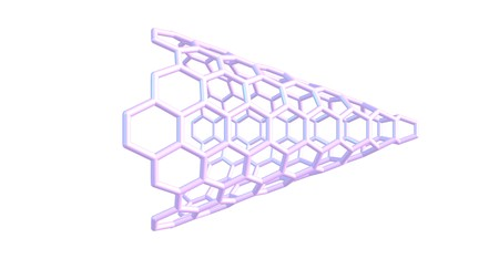 Carbon nanocones are conical structures which are made predominantly from carbon and which have at least one dimension of the order one micrometer or smaller. 3d illustration