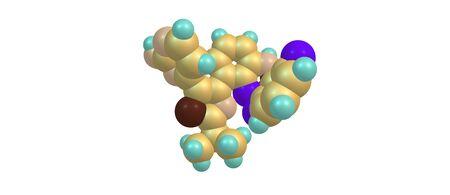 Dabrafenib is een geneesmiddel voor de behandeling van kankers. Het werkt als een remmer, die een rol speelt bij de regulatie van celgroei. 3D illustratie