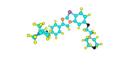 Quizartinib is a small molecule receptor tyrosine kinase inhibitor for the treatment of acute myeloid leukaemia. 3d illustration