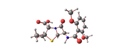 Meticillin is a narrow-spectrum beta-lactam antibiotic of the penicillin class. It should not be confused with the antibiotic metacycline. 3d illustration