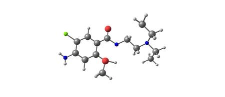 Metoclopramid-Molekülstruktur isoliert auf weiß
