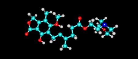 Mycophenolic acid molecular structure isolated on black
